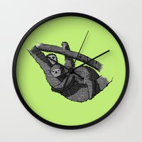sloths Wall Clocks featuring Newspaper Sloths by Doolin
