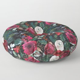 Pink red green watercolor boho floral pattern Floor Pillow