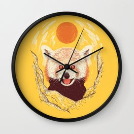 Red Panda on a Sunny Day Wall Clock