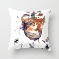 no face Throw Pillows featuring Face by Laake-Photos