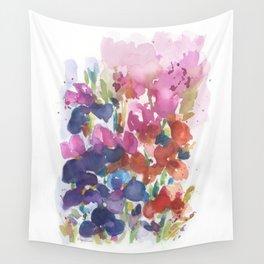 Pink Iris Splash Wall Tapestry
