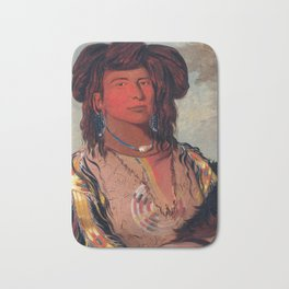 Head Chief of the Miniconjou Tribe by George Catlin Bath Mat