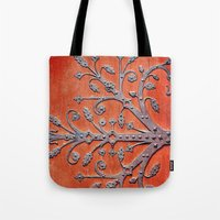gothic Tote Bags featuring Gothic Red Door by Joke Vermeer