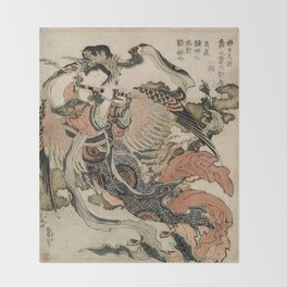 Hokusai, Aspara and the flute – musician manga, japan,hokusai,japanese,北斎,ミュージシャン Throw Blanket