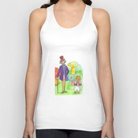willy wonka Tank Tops featuring Pure Imagination: Willy Wonka & Oompa Loompa by Michael Richey White by lost robot
