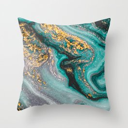 Turquoise And Gold Marble, Modern Marble Print, Luxury Geometric Art, Minimal Scandinavian Abstract Pattern Throw Pillow