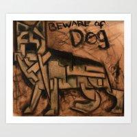 german shepherd Art Prints featuring German Shepherd by Tommervikpaintings
