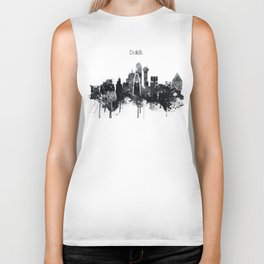Dallas TexasBlack White Skyline Poster Biker Tank