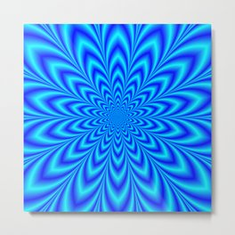 Star Flower in Shades of Blue Metal Print