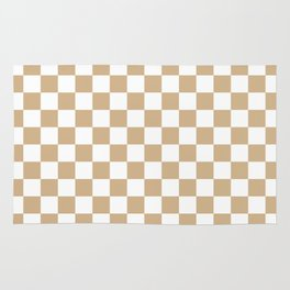 Small Checkered - White and Tan Brown Rug