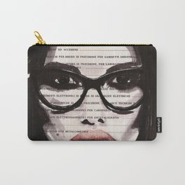 Eternal feminine - Ink portrait over vintage book's page Carry-All Pouch