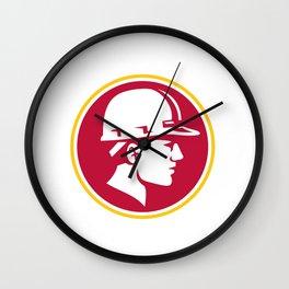Builder Hardhat Side Circle Retro Wall Clock