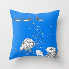 Two Tailed Duck and Jellyfish Royal Brilliant Blue Throw Pillow
