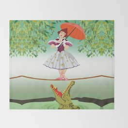 The Umbella girl With crocodile Throw Blanket