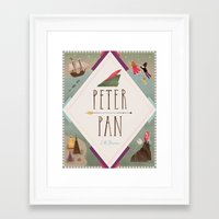 peter pan Framed Art Prints featuring Peter Pan by emilydove