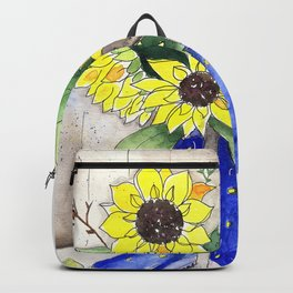 Sunflowers in Rain Boots Backpack