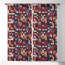 Burgundy Red Orange Tiling Colored Squares Blackout Curtain