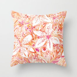 LILY SUNSET Peach Beachy Floral Throw Pillow