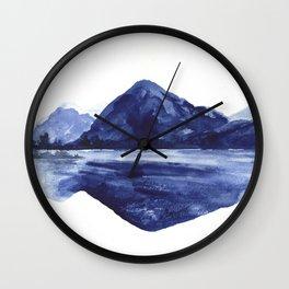 Nountains landscape, blue Wall Clock