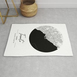 Toronto Area City Map, Toronto Circle City Maps Print, Toronto Black Water City Maps Rug