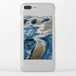 Abstract rock pool and sand on a beach Clear iPhone Case