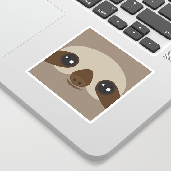 funny and cute smiling Three-toed sloth on brown background by ekaterinap