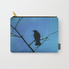 Redwinged Blackbird Silhouette in Blue Carry-All Pouch
