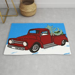 Old Red Christmas Truck In Snow Rug