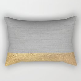 Color Blocked Gold & Grey Rectangular Pillow