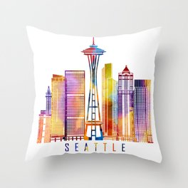 Seattle skyline landmarks in watercolor Throw Pillow