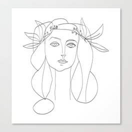 Picasso Line Art - Woman's Head Canvas Print