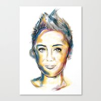miley cyrus Canvas Prints featuring Miley Cyrus by caffeboy