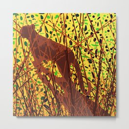 Tiger In The Bush, Asthetic Art for Covers Metal Print