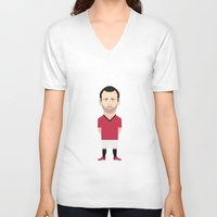 manchester V-neck T-shirts featuring Ryan Giggs - Manchester United by Georgian-Sorin Maxim
