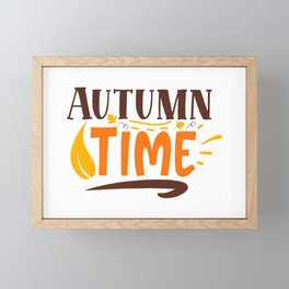 Autumn Time Cute Girly Fall Quote Framed Mini Art Print