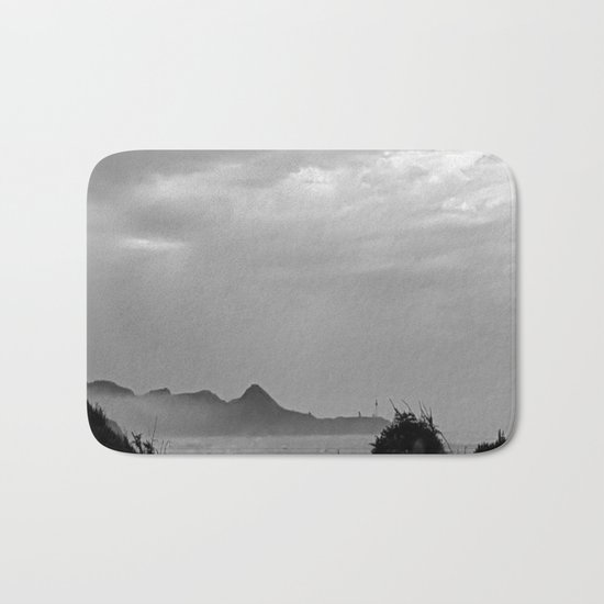 Violent Shores in Black and White Bath Mat