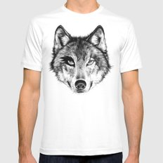 The Wolf Next Door White MEDIUM Mens Fitted Tee