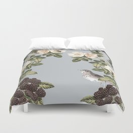Birds and the Bees Gray Duvet Cover