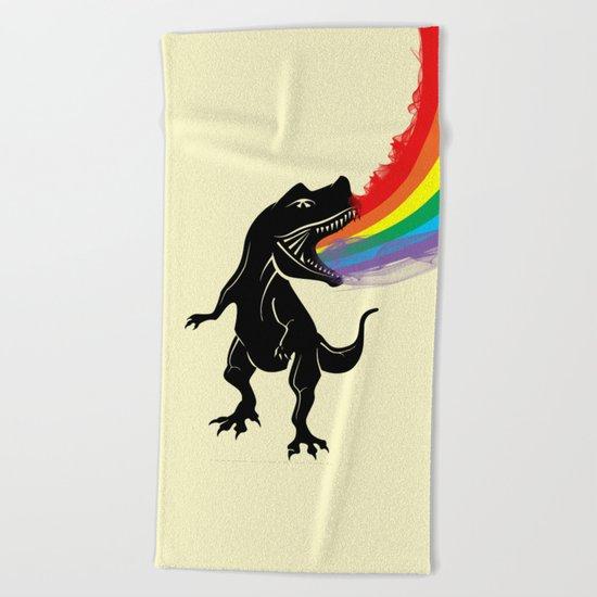 dinosaur rainbow Beach Towel