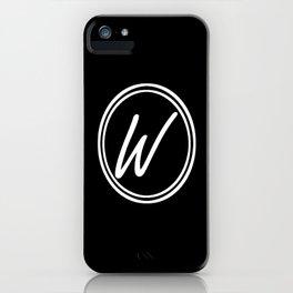 Monogram - Letter W on Black Background iPhone Case