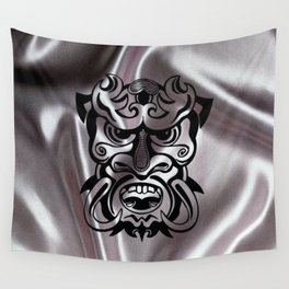 Vicious Tribal Mask on silk 015 Wall Tapestry