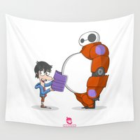 big hero 6 Wall Tapestries featuring 21 - BIG HERO 6 by Jomp