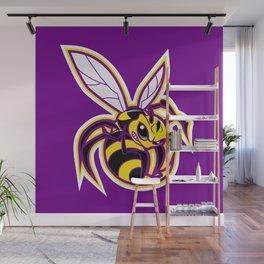 bee mascot yellow purple Wall Mural