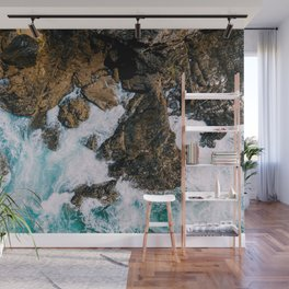 Ocean Waves Crushing On Rocky Landscape, Drone Photography, Aerial Landscape Photo, Ocean Wall Art Wall Mural