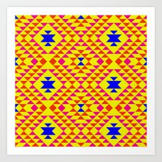 Tribal geometric pattern - yellow Art Print
