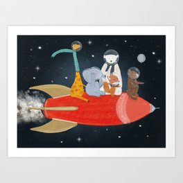 lets all go to the moon Art Print