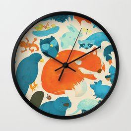 Wildlife Collage Woodland Creatures and Cute Animals Wall Clock