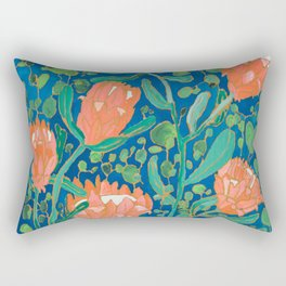 Coral Proteas on Blue Pattern Painting Rectangular Pillow