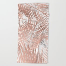 Tropical modern faux rose gold palm tree leaf white marble pattern Beach Towel