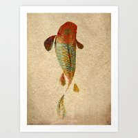 koi Art Prints featuring Mystic Koi by Fernando Vieira